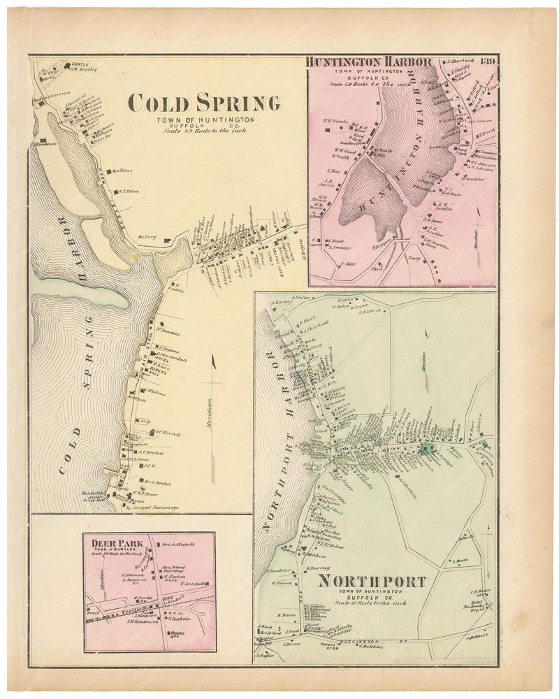 Huntington: Cold Spring, Huntington Harbor, and Northport; Babylon: Deer Park, New York 1873