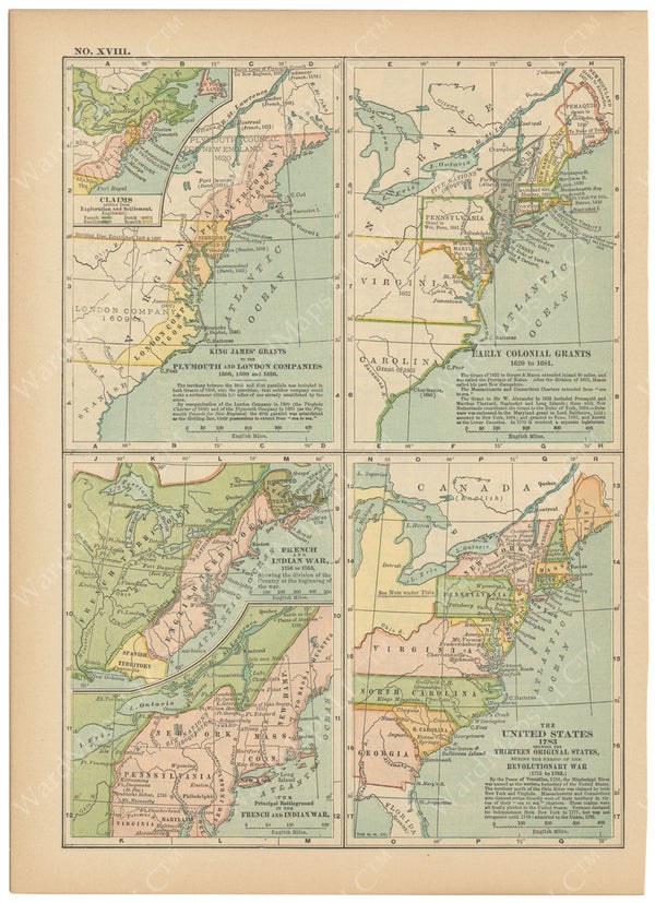 Classical Map 1914 no. XVIII: American Colonial Development