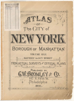 Atlas of Manhattan, New York, Vol. 1 1931 (1984): Title Page