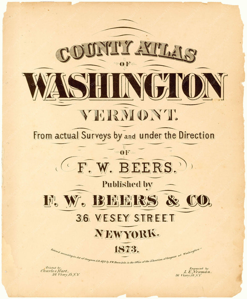 Washington County, Vermont 1873 Title Page