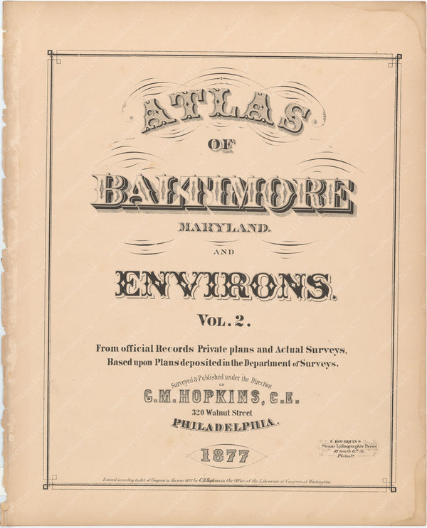 Baltimore, Maryland and Environs, Vol. 2, 1877 Title Page
