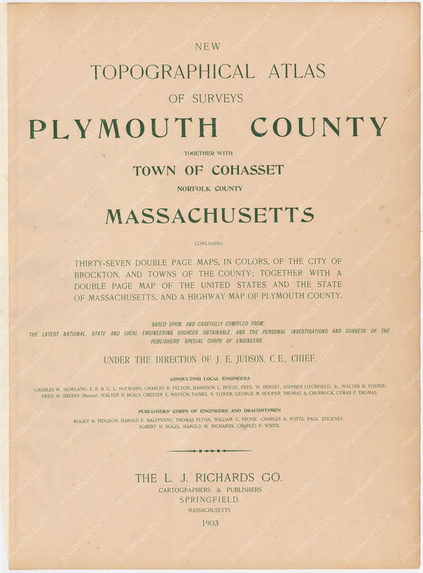 Plymouth County, Massachusetts 1903 Title Page