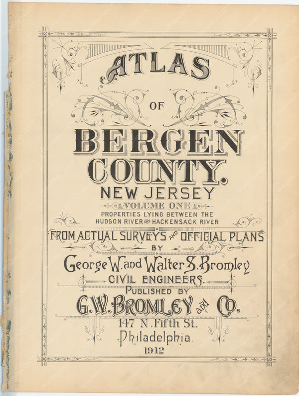 Bergen County, New Jersey, Vol. 1, 1912 Title Page