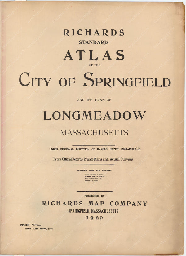 Springfield and Longmeadow, Massachusetts 1920 Title Page