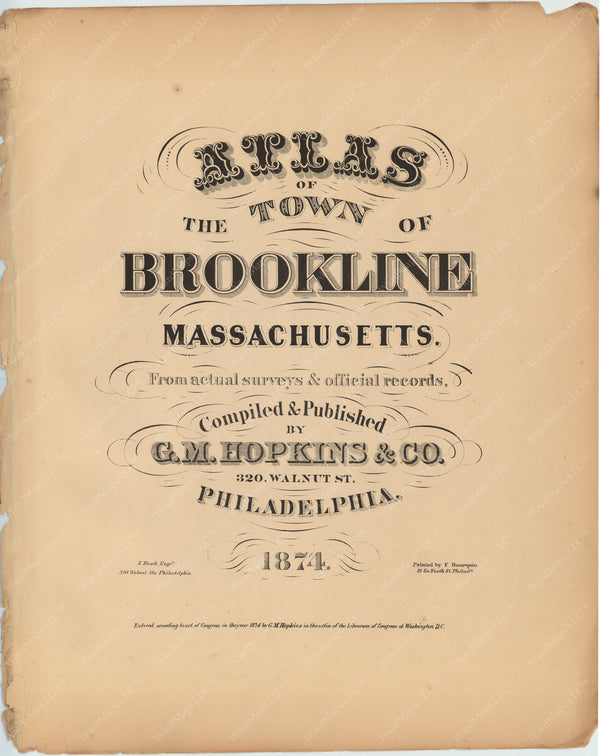 Brookline, Massachusetts 1874 Title Page