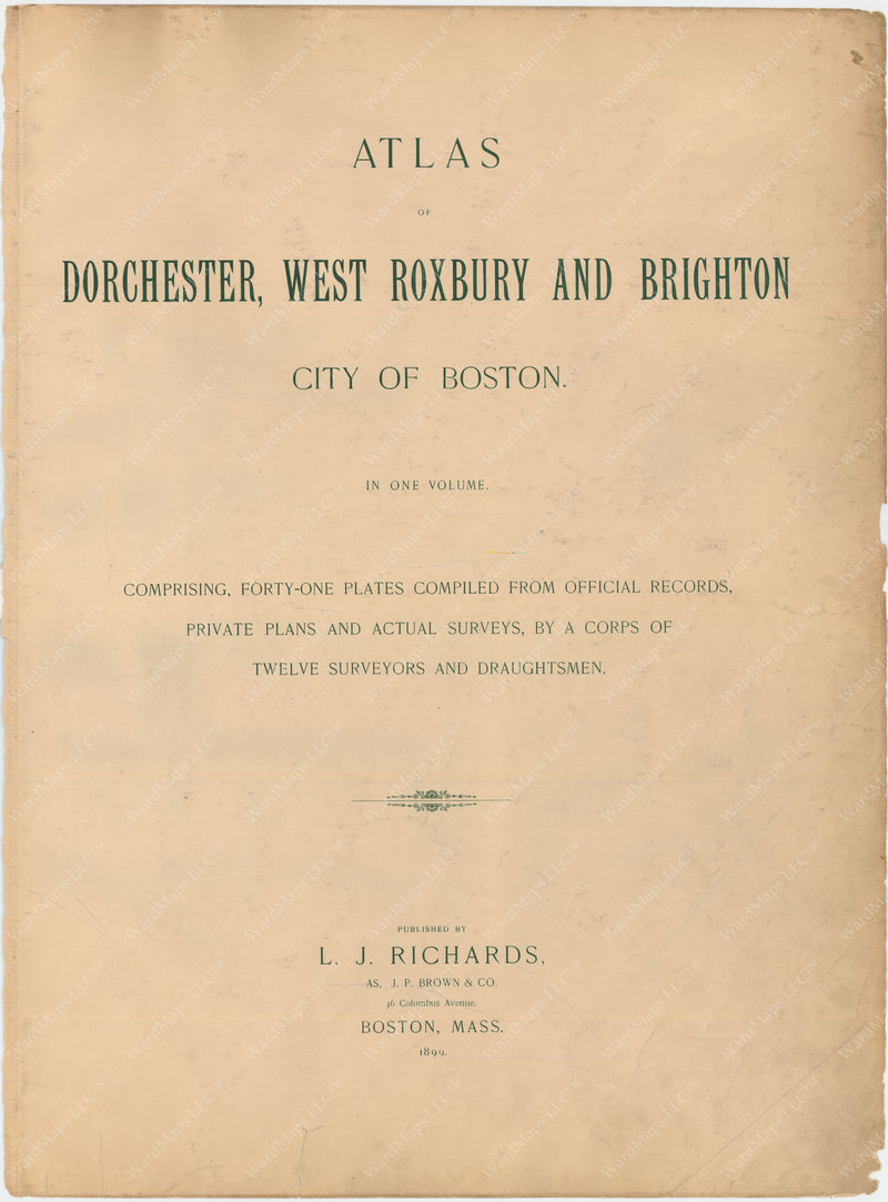 Dorchester, West Roxbury, and Brighton 1899 Title Page