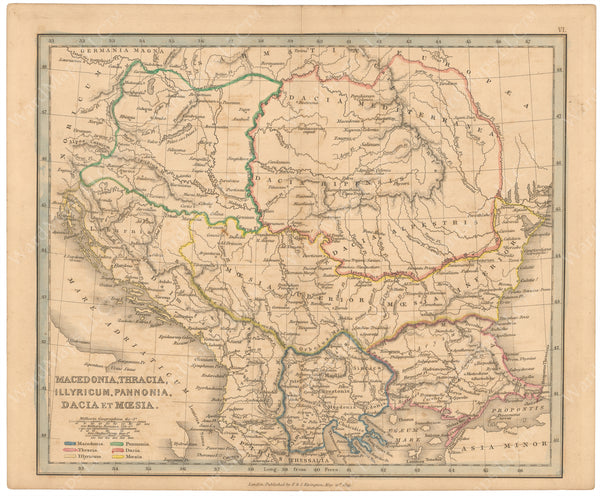Classical Atlas 1849: Macedonia, Thracia, Illyricum, Pannonia, Dacia, and Moesia