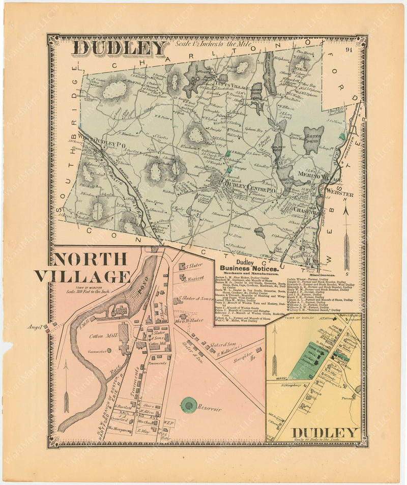 Dudley and Webster, Massachusetts 1870