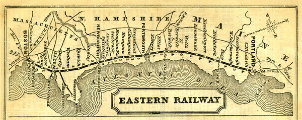 Eastern Railroad System Map 1860: Boston, Massachusetts to Portland, Maine