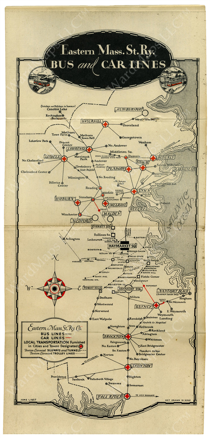 Eastern Massachusetts Street Railway Co. System Map 1937