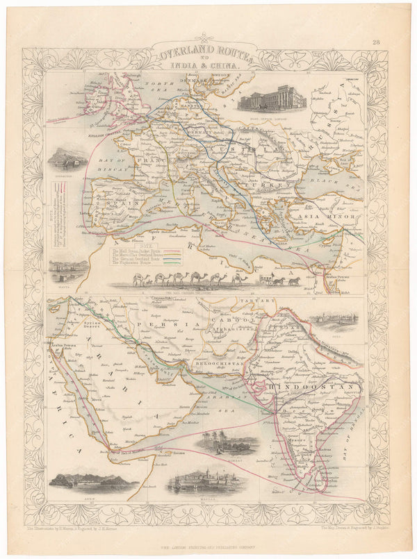 Overland Routes to India and China 1851