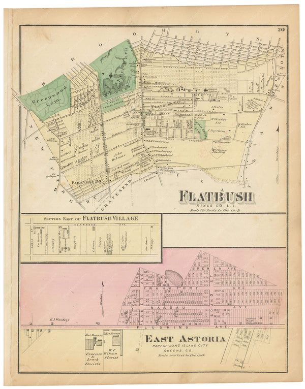 Flatbush; Long Island City: E. Astoria, New York 1873