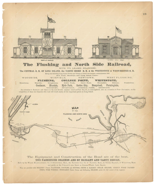 Flushing and North Side Railroad, New York 1873