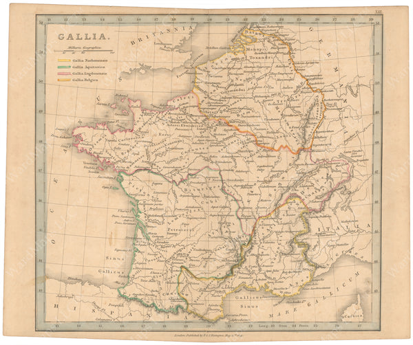 Classical Atlas 1849: Gallia