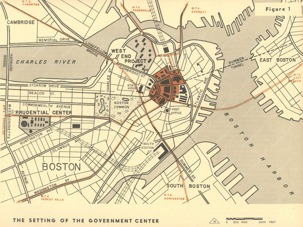 Boston, Massachusetts 1959: Government Center Locator Map