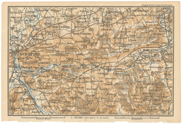 Guildford to Dorking, England 1910