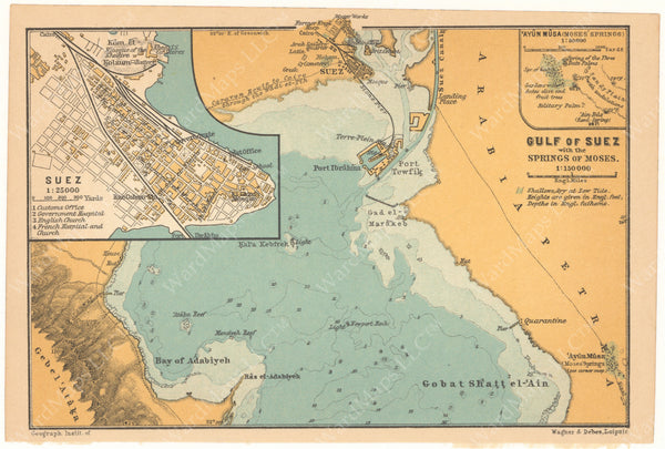 Suez and Gulf of Suez, Egypt 1908
