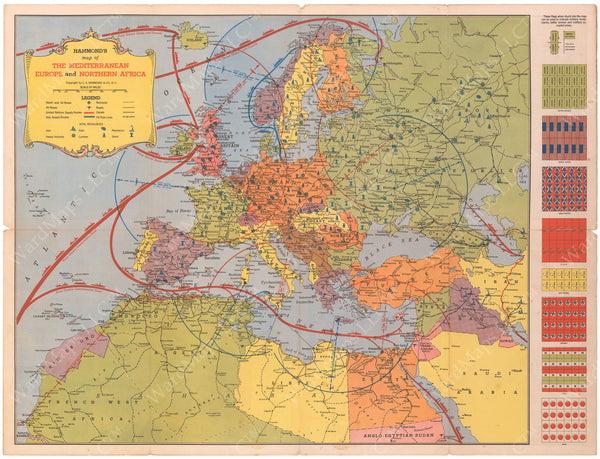 WWII Map of Mediterranean, Europe, and Northern Africa Circa 1940s