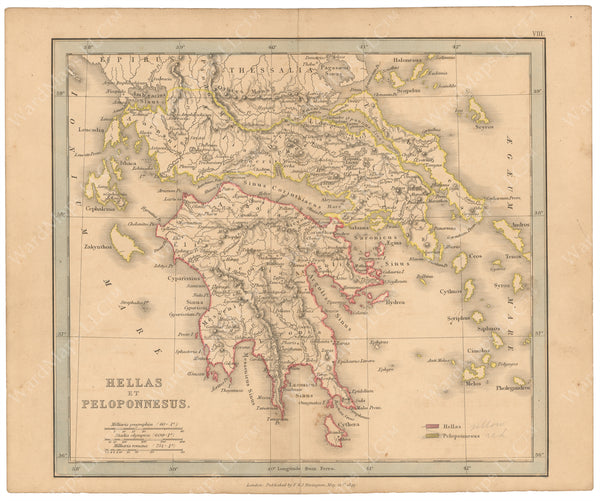 Classical Atlas 1849: Hellas and Peloponnesus
