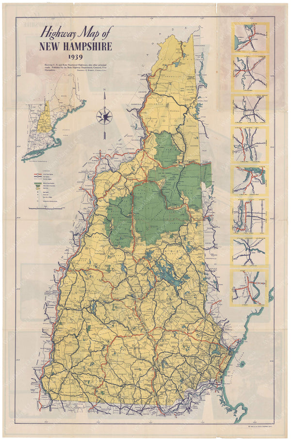 New Hampshire Highway Map 1939