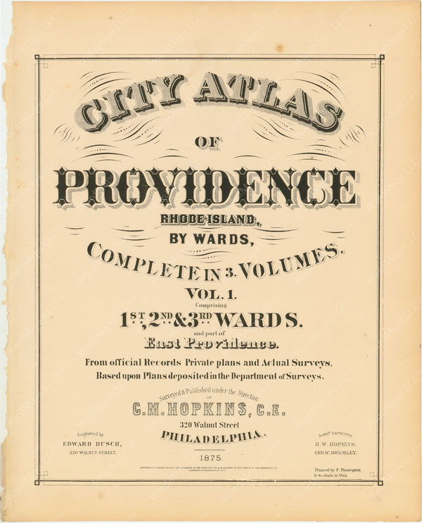 Providence, Rhode Island, Vol. 1, 1875 Title Page