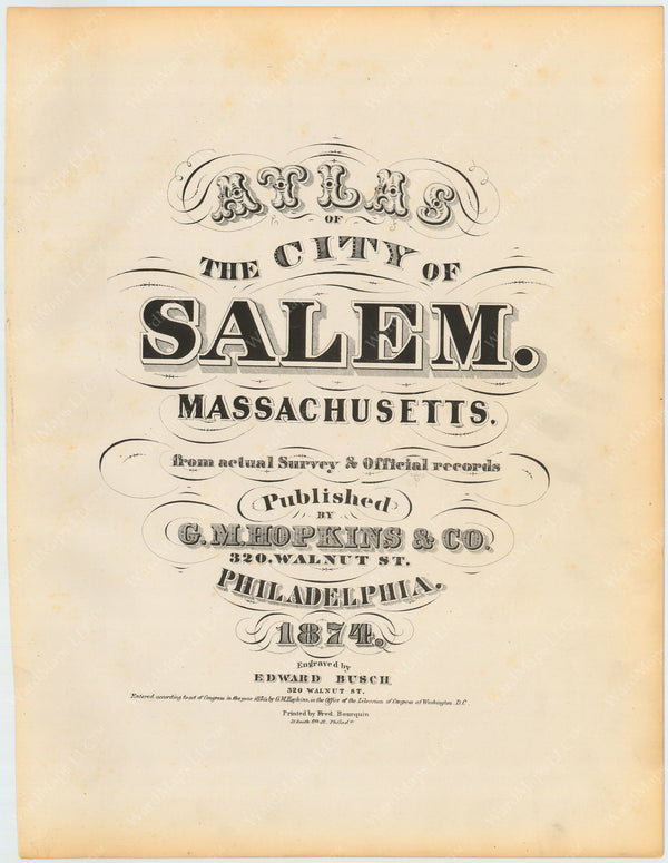 Salem, Massachusetts 1874 Title Page