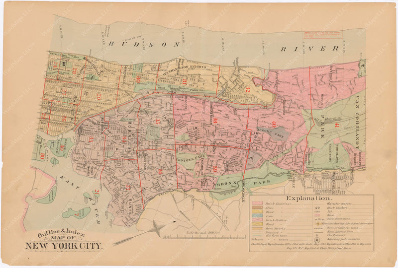 New York City 1885 Index Plate North