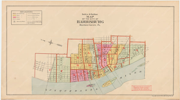 Harrisburg, Pennsylvania 1901 Index Map