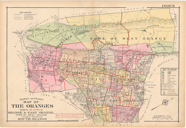 The Oranges, New Jersey 1911 Index Map