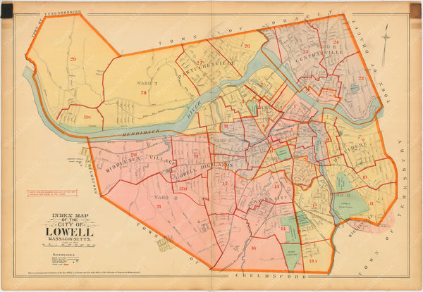 Lowell, Massachusetts 1896 Index Map