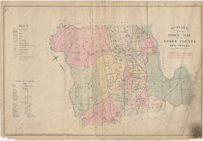 Essex County, New Jersey 1890 Index Map