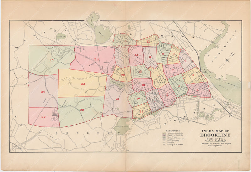 Brookline, Massachusetts 1897 Index Map