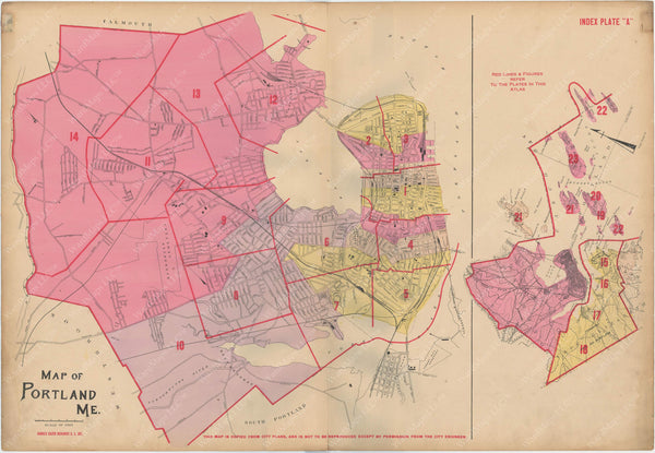 Portland and South Portland, Maine 1914 Index Map