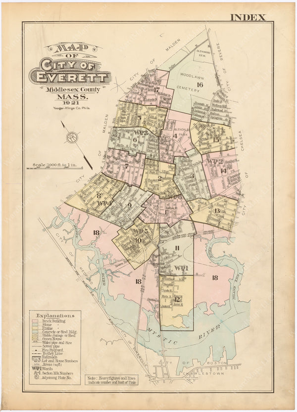 Everett, Massachusetts 1921 Index Map