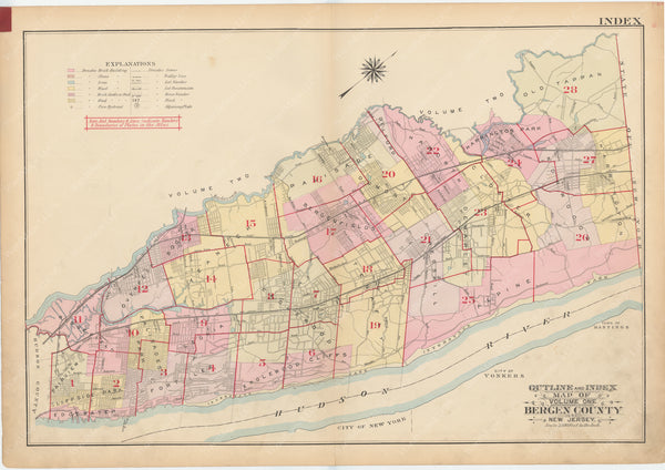 Bergen County, New Jersey, Vol. 1, 1912 Index Map