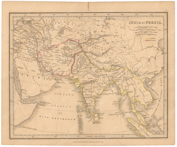 Classical Atlas 1849: India and Persia