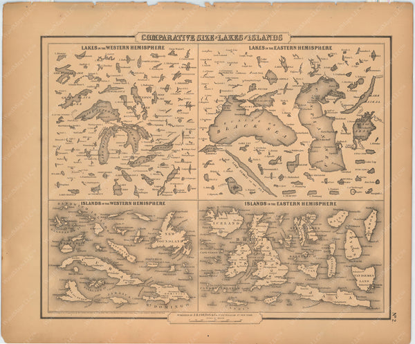 Colton's General Atlas (Of The World) 1857: Comparative Size of Lakes and Islands