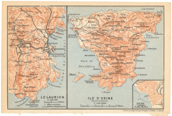 Lavrium Region and Aegina, Greece 1909