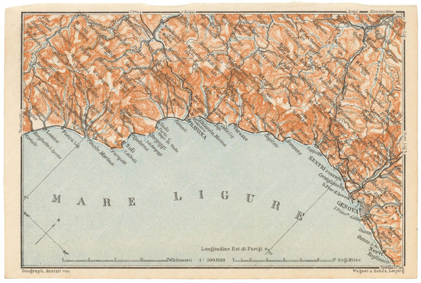 Ligurian Coast, Italy 1909: Loano to Genoa