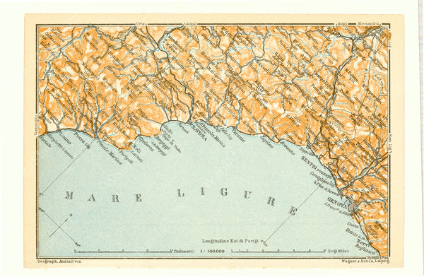 Ligurian Coast, Italy 1913: Loano to Genoa