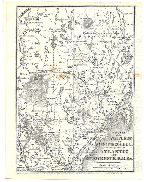 Railroads in Eastern New Hampshire and Western Maine 1848