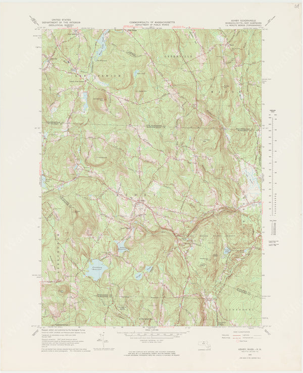 USGS Massachusetts and New Hampshire: Ashby Sheet 1965