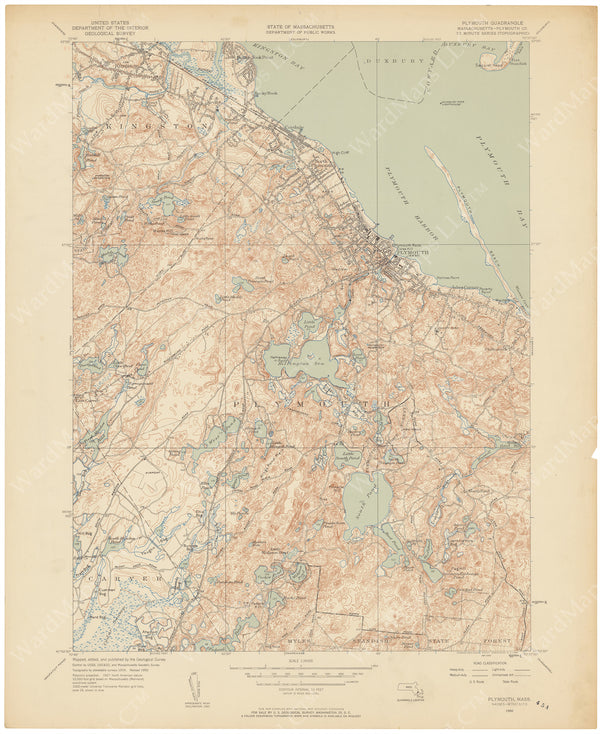 USGS Massachusetts: Plymouth Sheet 1950