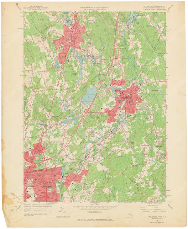 USGS Massachusetts and Rhode Island: Attleboro Sheet 1964