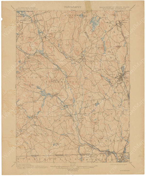 USGS Massachusetts and Rhode Island: Blackstone Sheet 1914