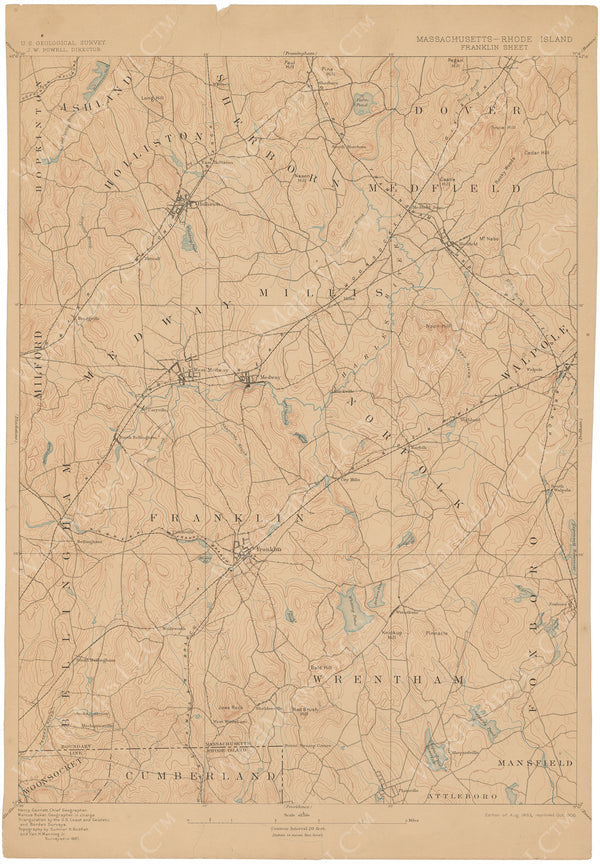 USGS Massachusetts and Rhode Island: Franklin Sheet 1906