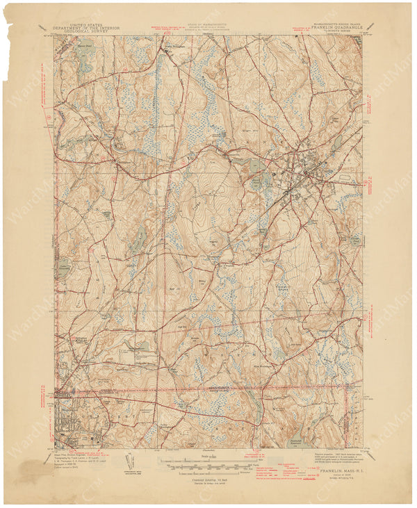 USGS Massachusetts and Rhode Island: Franklin Sheet 1946