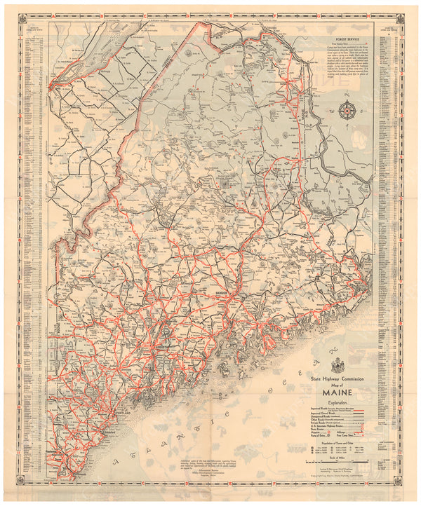 Maine 1935: State Highway Map