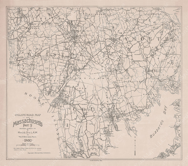 Cyclists' Road Map of Massachusetts 1893 Part 09: Bristol County and Plymouth County (b/w)
