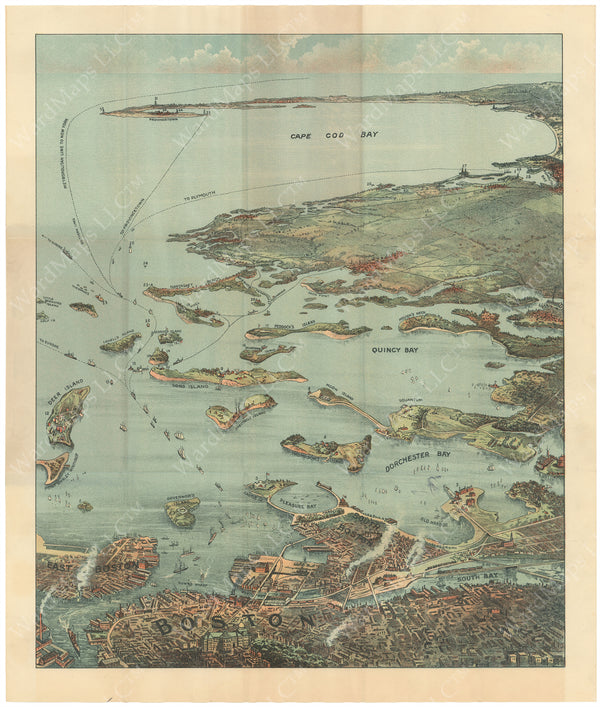 Boston Harbor and Cape Cod Bay Circa 1900